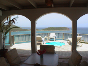 St John rental home Altamira expansive Caribbean views from covered patio overlooking spa