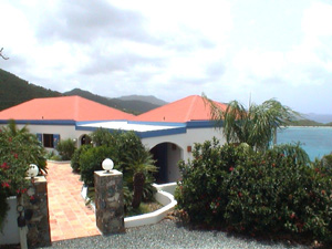 St John rental home Altamira beautifully landscaped entrance and Caribbean views