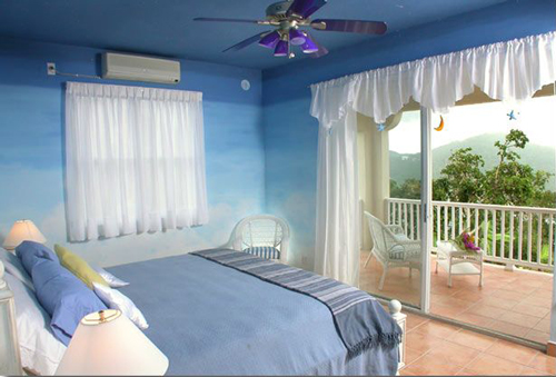 USVI St John rental villa Arco Iris Shooting Star bedroom with king bed and private deck and bathroom