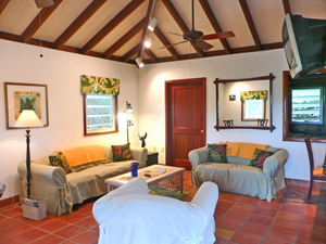 Cactus Flower cottage on St John has high ceilings and ample living space
