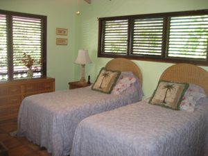 St John vacation rental Meridian bedroom with high ceilings and twin beds