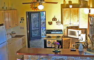 St John vacation rental Meridian kitchen is fullyequipped and has bar seating
