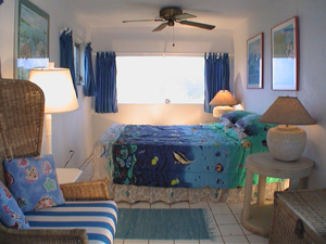 St John USVI vacation rental Viewtiful bedrooms with blue acents and king sized bed