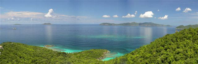 USVI St John luxury villa Sago Palms 180 degree view of Caribbean and other islands