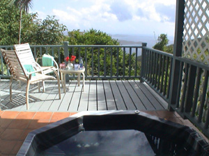 St John vacation rental Tree Tops spa on outside deck
