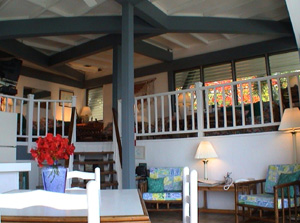 St John vacation rental Tree House has sunken living room, tile floors and tropical prints