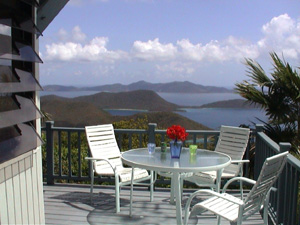 St John vacation rental Tree House has large patio with expansive ocean views