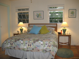 St John Rental Home Tree Tops lower guest bedroom has queen bed and full bath