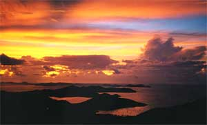Incredible colorful sunsets from Tree House vacation rental on St John